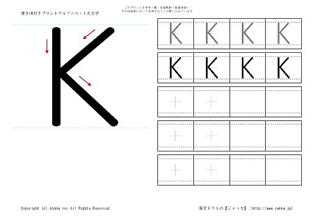 すべての講義 アルファベットの書き順 : の書き順付き練習帳画像