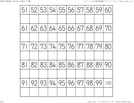 プリント 2年生 漢字 プリント : 数字の練習51~100まで(横ハーフ ...